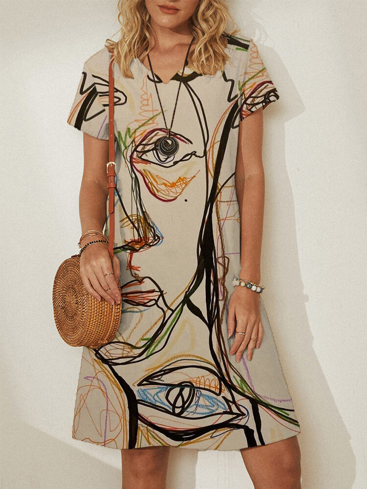 Abstract Print Short Sleeve Plus Size Casual Midi Dress