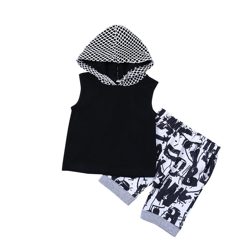 2Pcs Boys Printed Clothing Set (Hooded T-shirt + Short Pants ) For 1Y-7Y