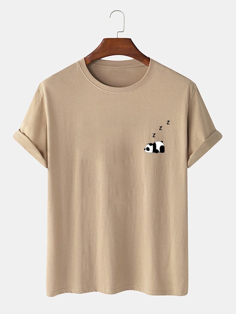 Camiseta masculina 100% algodão cor sólida Panda estampa fina casual