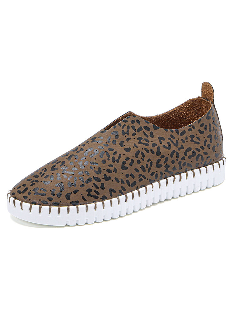 Women Animal Printing Hollow Breathable Slip On Casual Flat Shoes