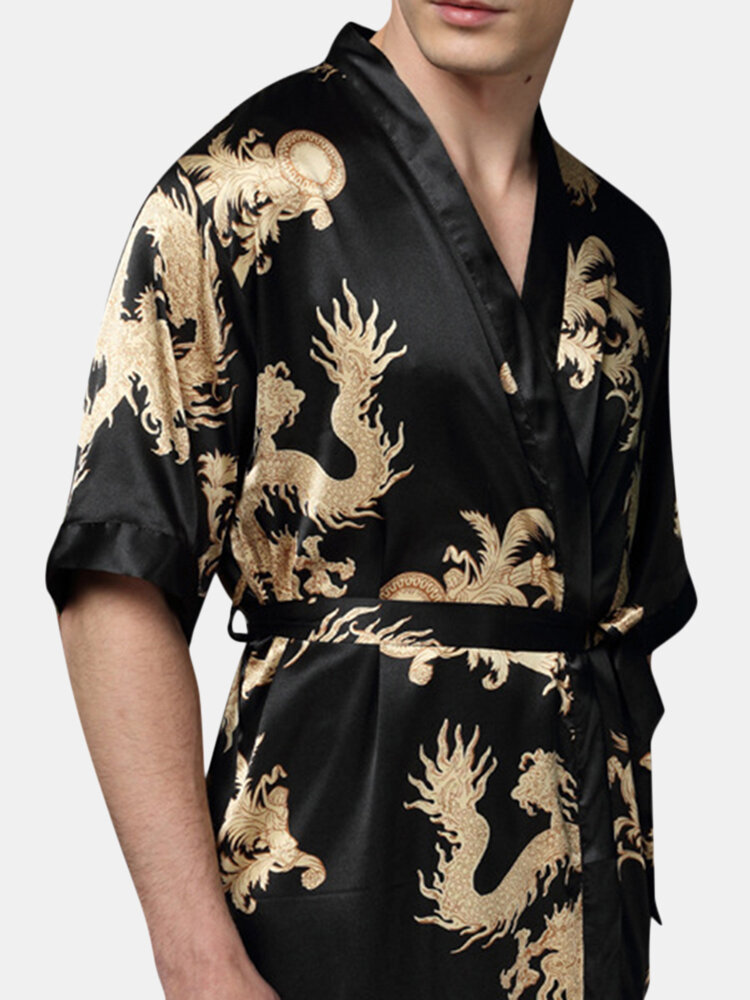 Mens Plus Size Retro Luxo Mancha Japonesa Kimono Chinês Dragon Ice Seda Sexy Robes de Sono