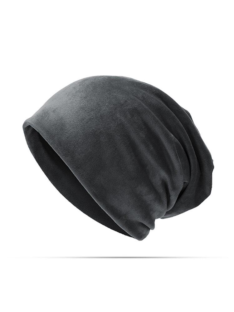 Women's Solid Velvet Skullies Beanie Hat Casual Ear Protection Windproof Warm Hat