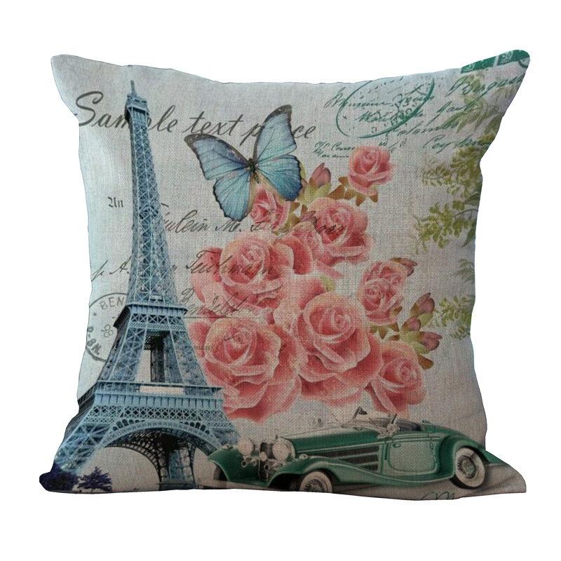 Paris Eiffel Tower Printed Pillowcase Linen Sofa Soft Cushion Cover