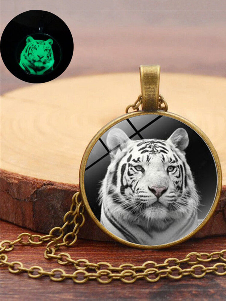 Vintage Glass Printed Women Necklace Luminous Tiger Head Pendant Sweater Chain Jewelry