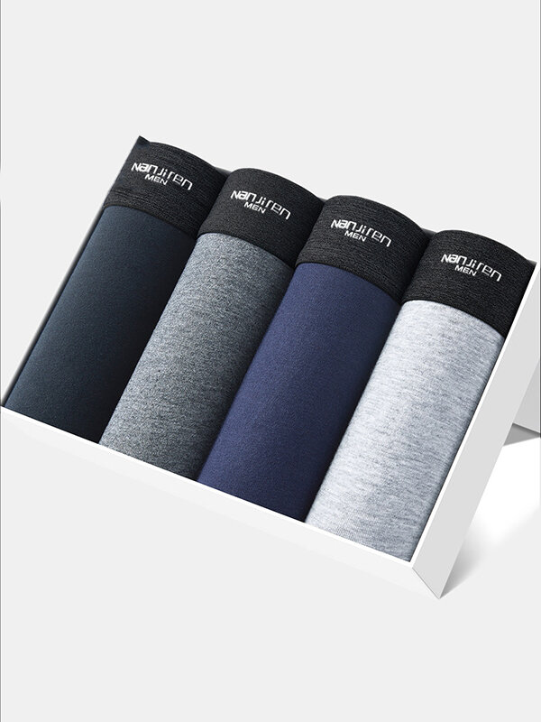 Multipacks Mens Plain Cotton Breathable Underwears Soft Cozy Stretch Boxer Briefs With Pouch