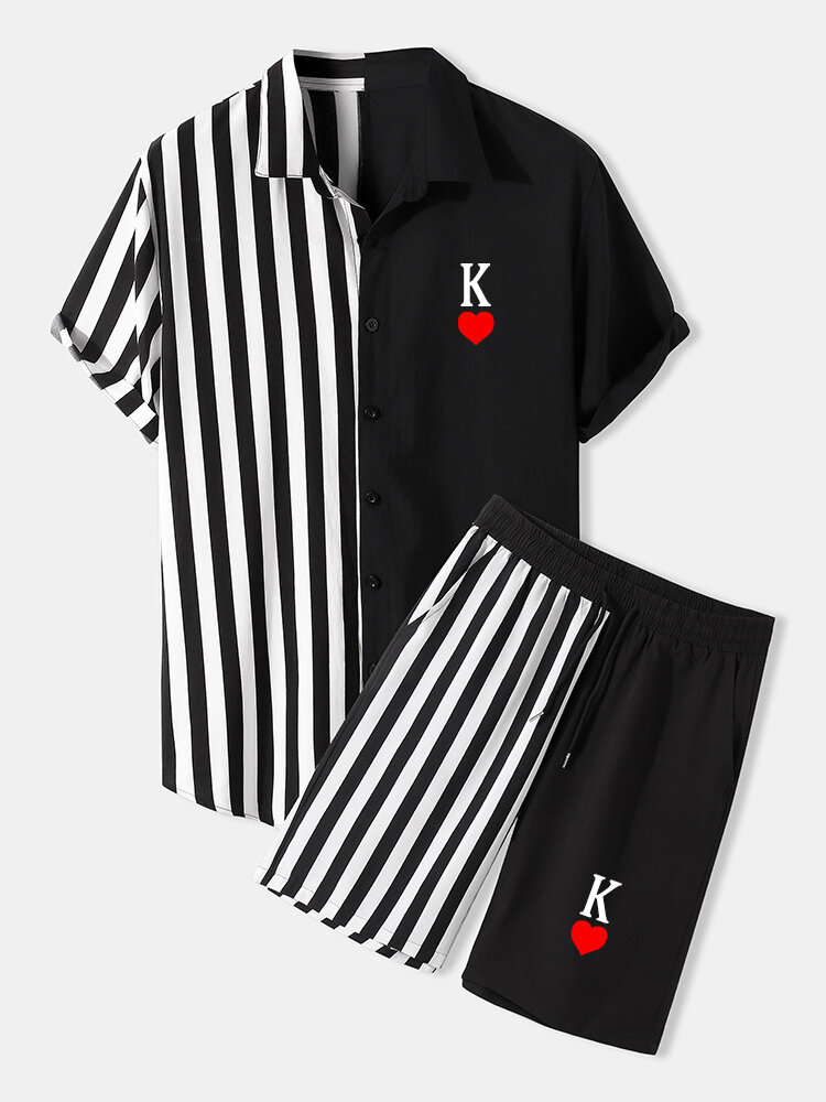 Mens K Poker Print Striped Patchwork Streetwear Two Piece Outfits
