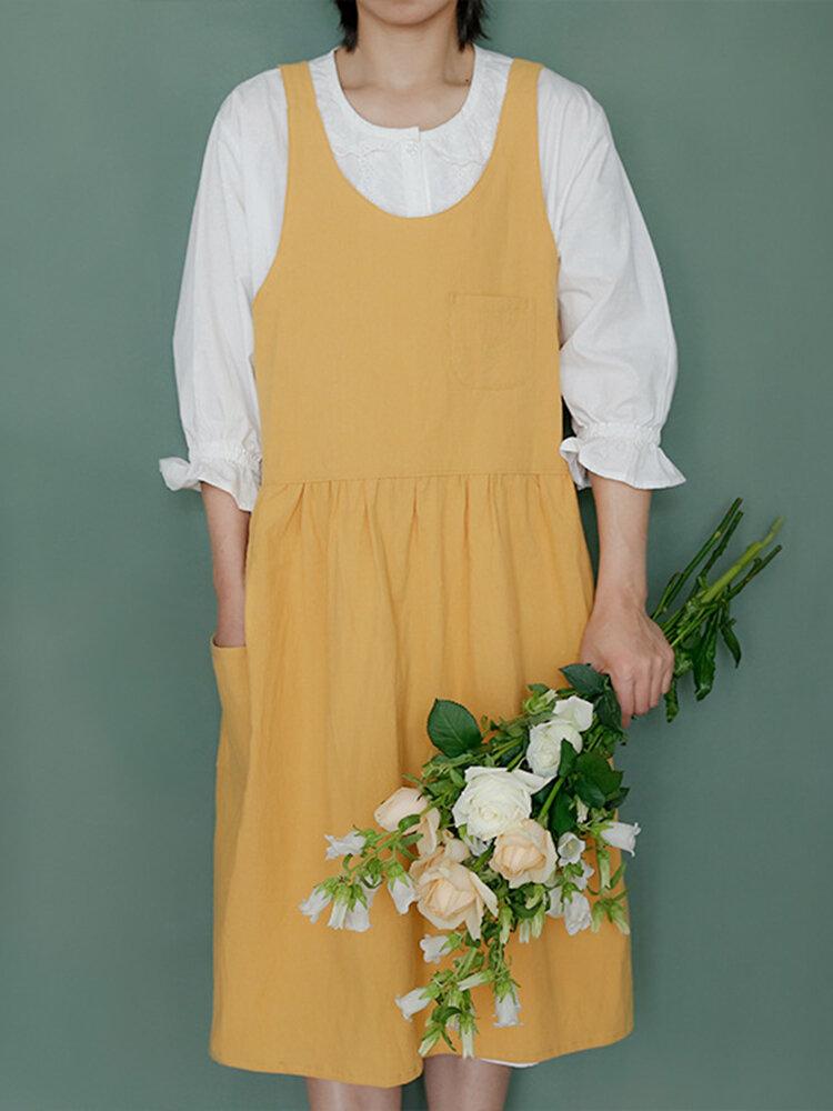 Thick Cotton Pleated Apron Cotton Apron Flower Shop Coffee Shop Work Clothes Apron