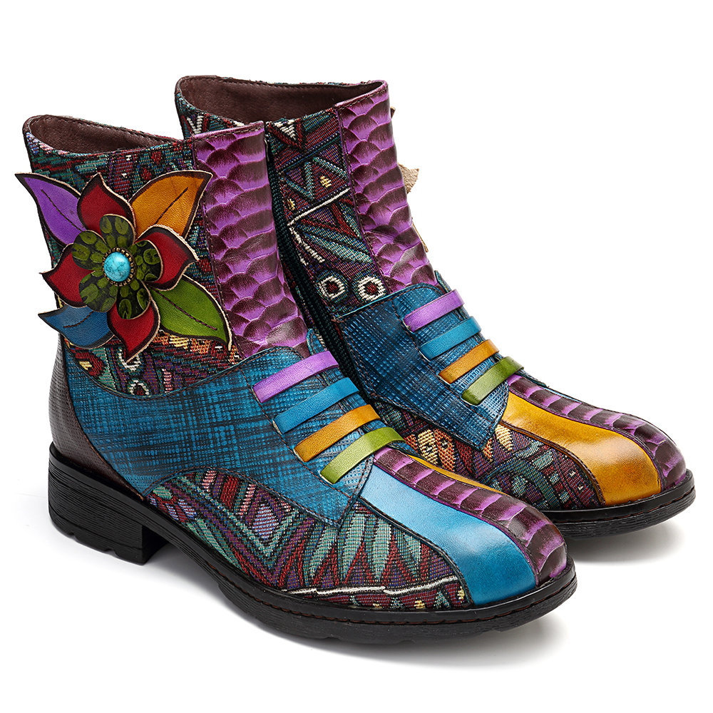 SOCOFY Bohemia Streamers Floral Pattern Genuine Leather Splicing Stitching Zipper Flat Ankle Boots