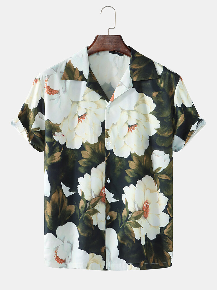 Mens All Over Flower Printed Revere Collar Holiday Short Sleeve Shirts