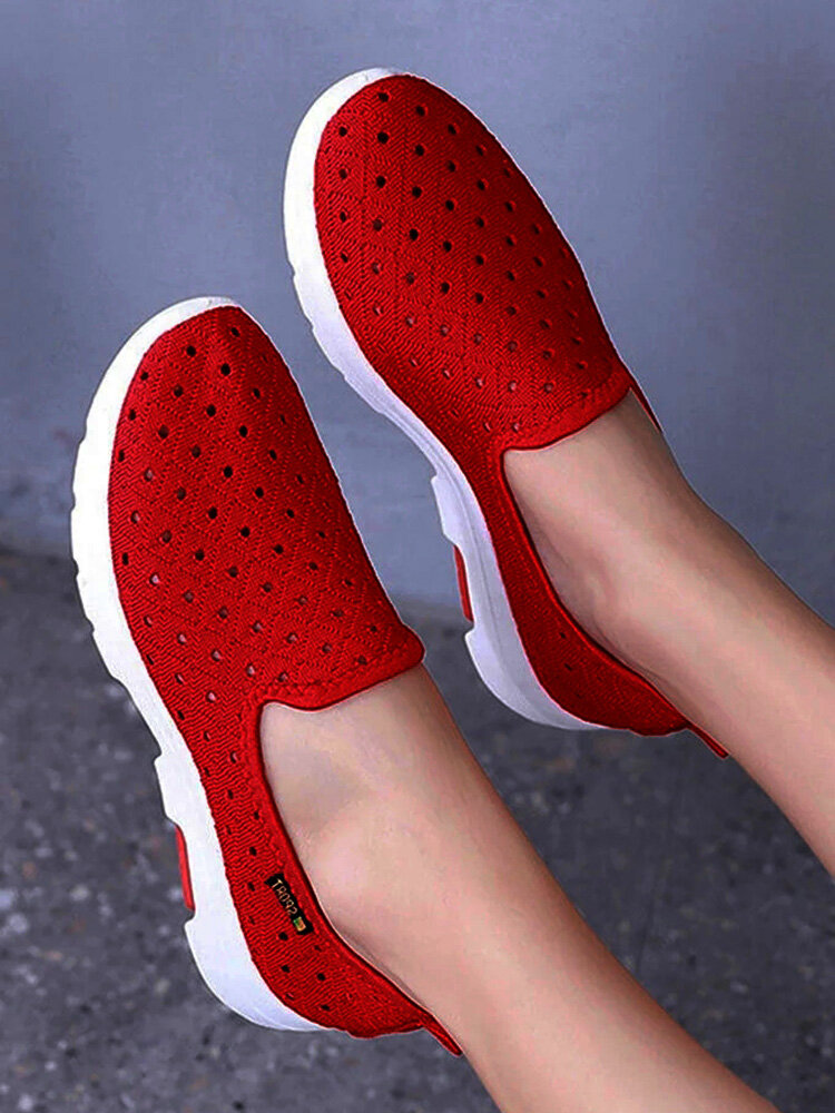 Women Comfy Breathable Hollow Slip On Walking Shoes