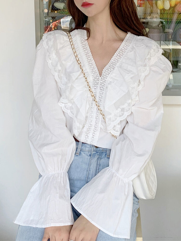 Women Solid V-neck Long Sleeve Ruffle Patchwork Casual Blouse