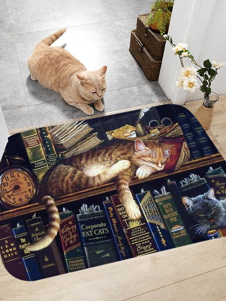Schlafkatzen Muster Fußmatten Flanell Wasseraufnahme Rutschhemmende Fußmatte Badezimmertürmatte