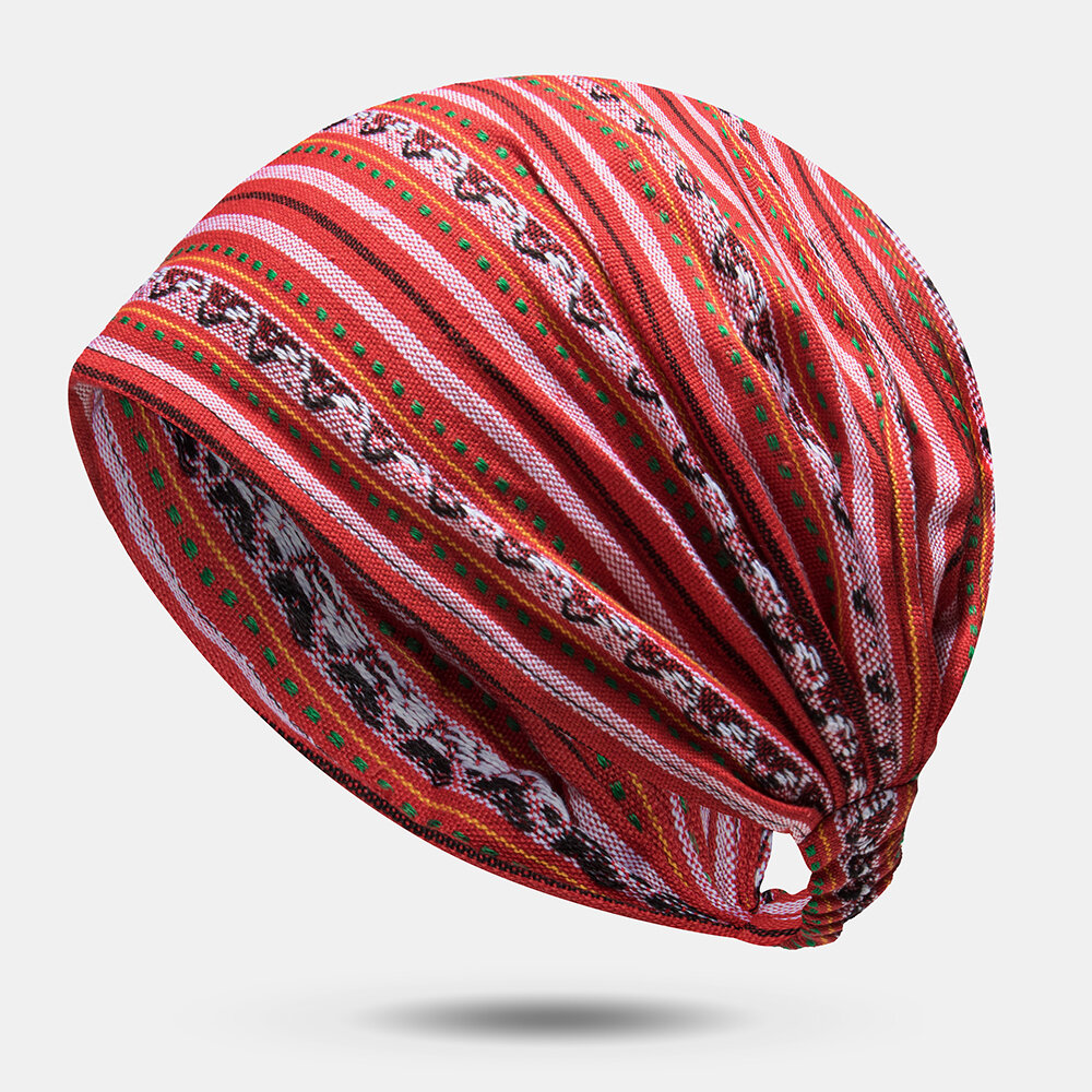 Striped Multicolor Beanie Hat Floral Characteristic Hat Ethnic Style Turban Head Wrap Cap