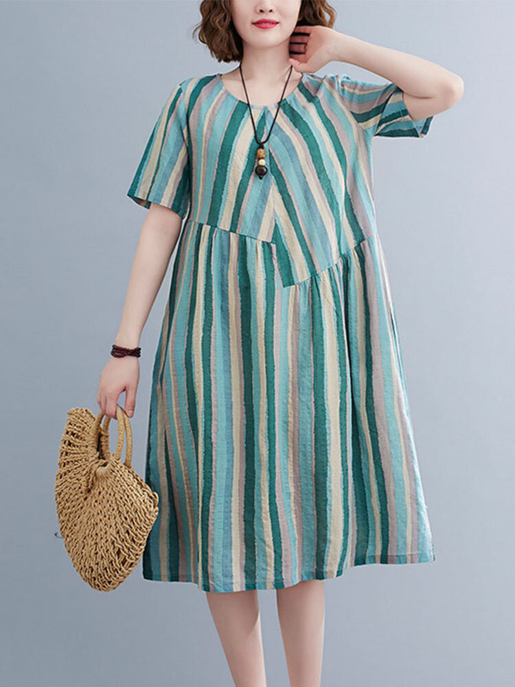 Color Contrast Striped Print Patchwork Plus Size Casual Holiday Dress