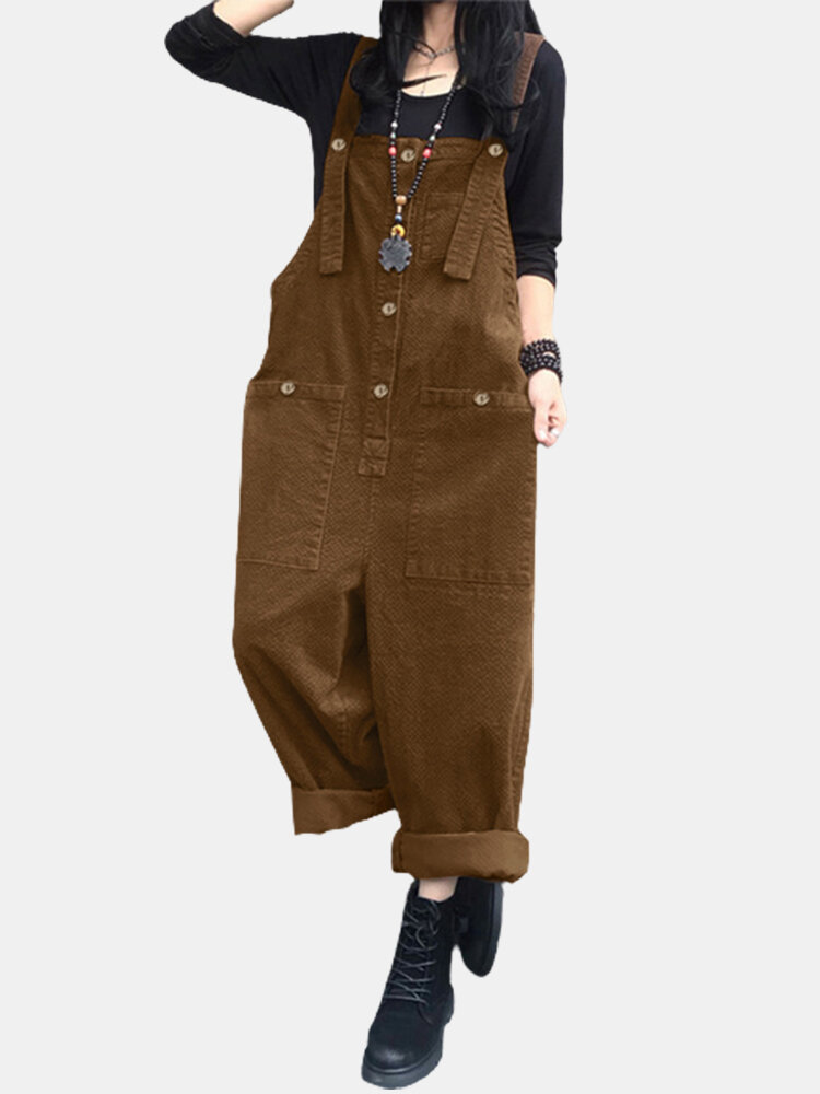 Solid Color Button Pocket Sleeveless Casual Corduroy Jumpsuit for Women