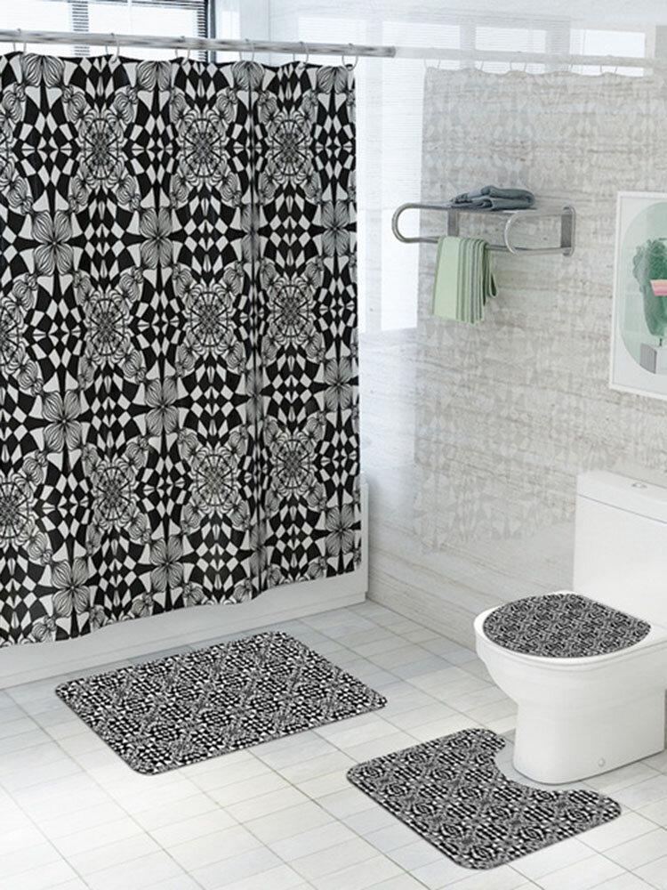 Black And White Patterned Carpet Four-Piece Shower Curtain Floor Mat Bathroom Mat Set