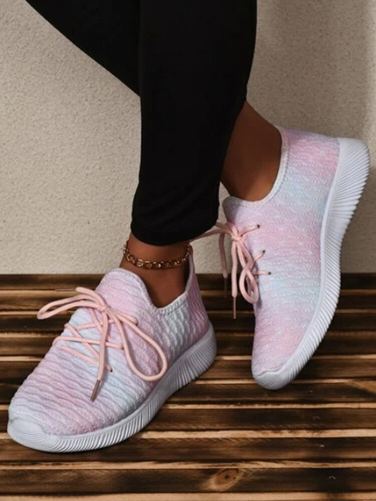 Plus Size Women Casual Knitted Fabric Walking Shoes Comfy Breathable Sneakers