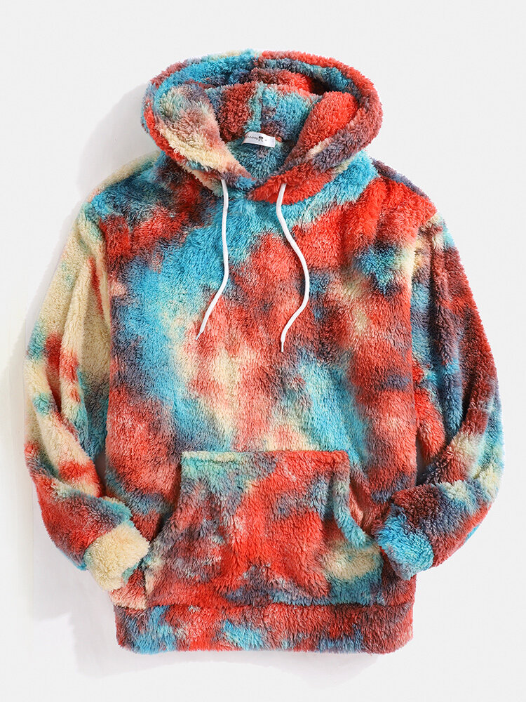 Mens Tie-Dye Print Plush Pouch Pocket Teddy Hoodie