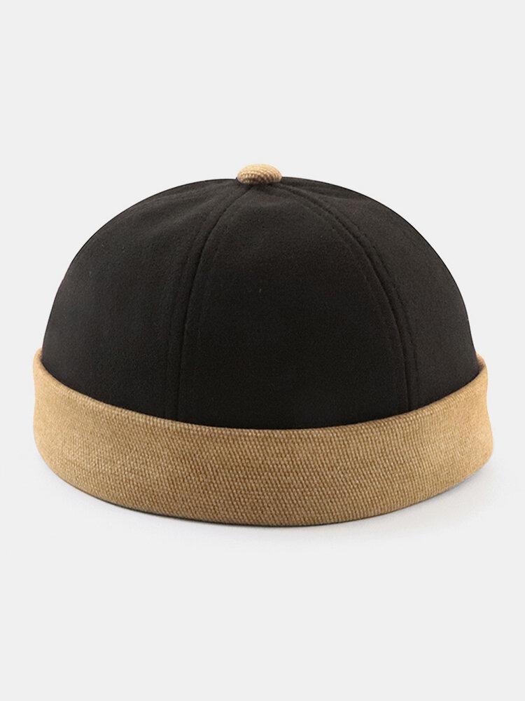 男性と女性のコントラストカラーレトロスカルキャップ調節可能なつばのない帽子