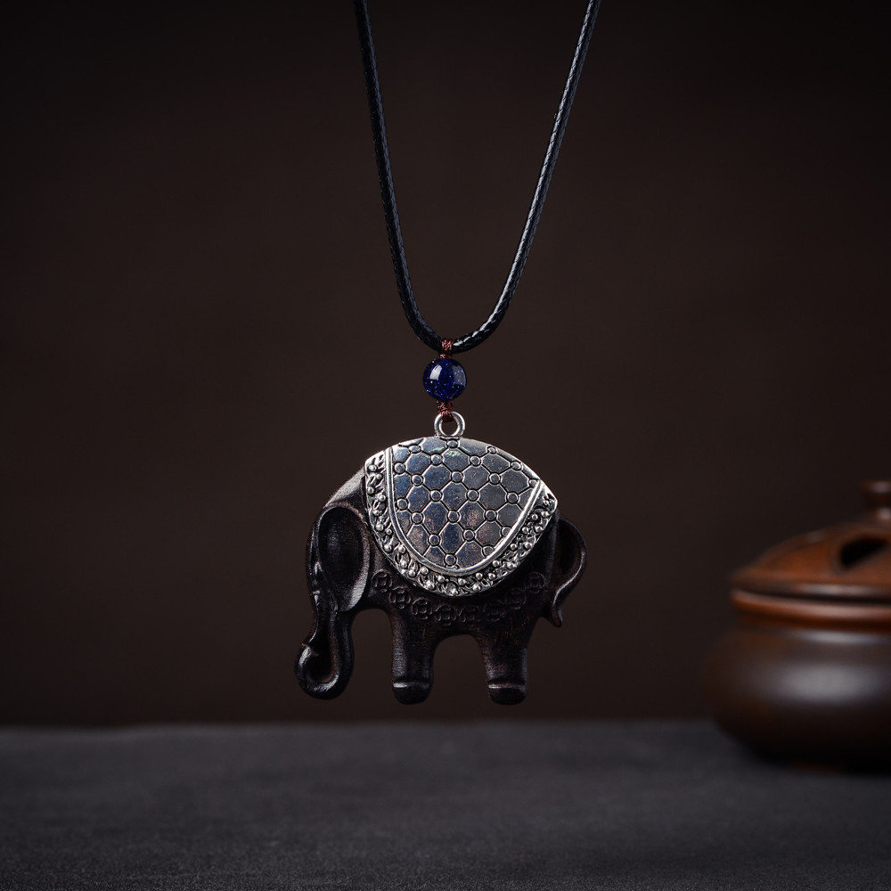 6d1cb2eb1ef27 Ethnic Black Sandalwood Elephant Necklaces Vintage 925 Sterling Silver  Charm Necklaces for Women