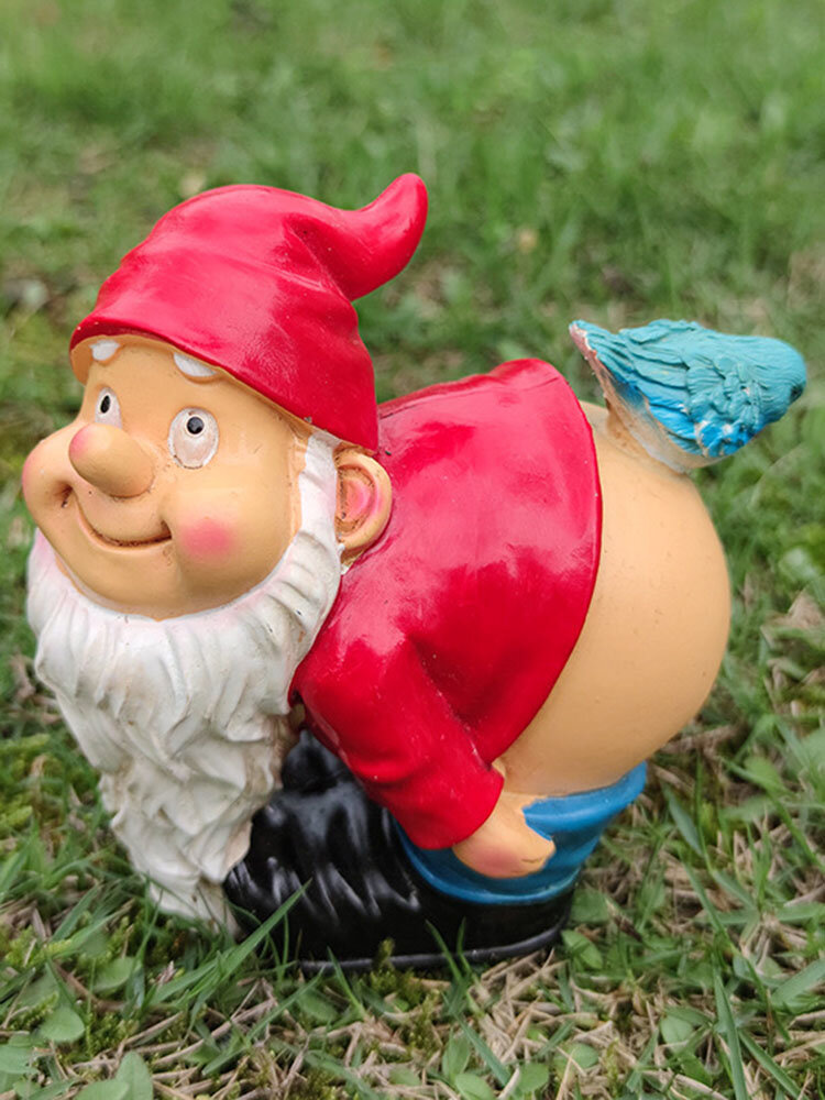 1PC Resin Gnome Dwarf Flirting White Beard Statues Bent Over To Expose Ass Bird Lawn Decorations Indoor Outdoor Christmas Garden Ornament
