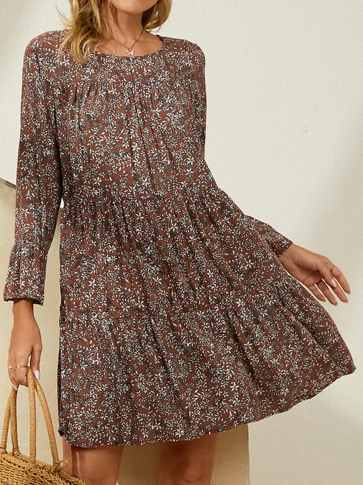 Floral Print Long Sleeve O-neck Dress for Women
