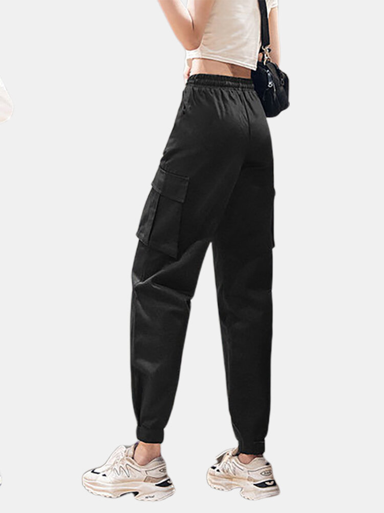Overalls Pants Women's Loose Casual Lanterns Beam Foot Harlan Black Thin Section Sports Pants