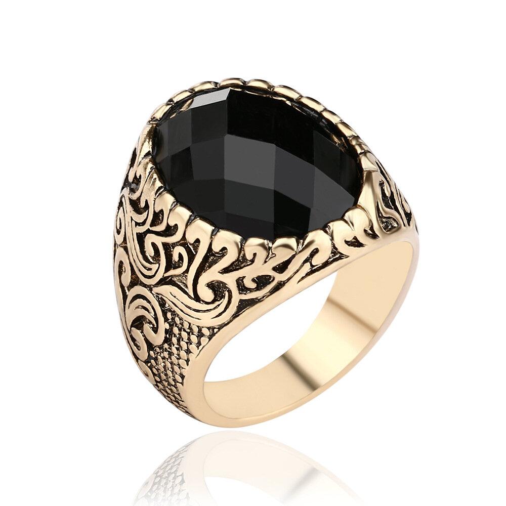 7c0cee08ef Anello da dito da uomo vintage, grande anello punk nero con pietre  preziose, gioielli