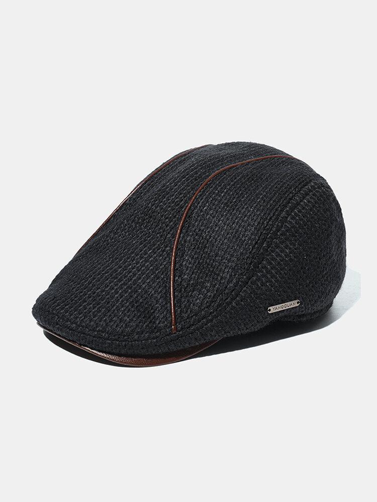 Men's Knit Hat Padded Warm Beret Caps Casual Outdoor Visor Forward Hat