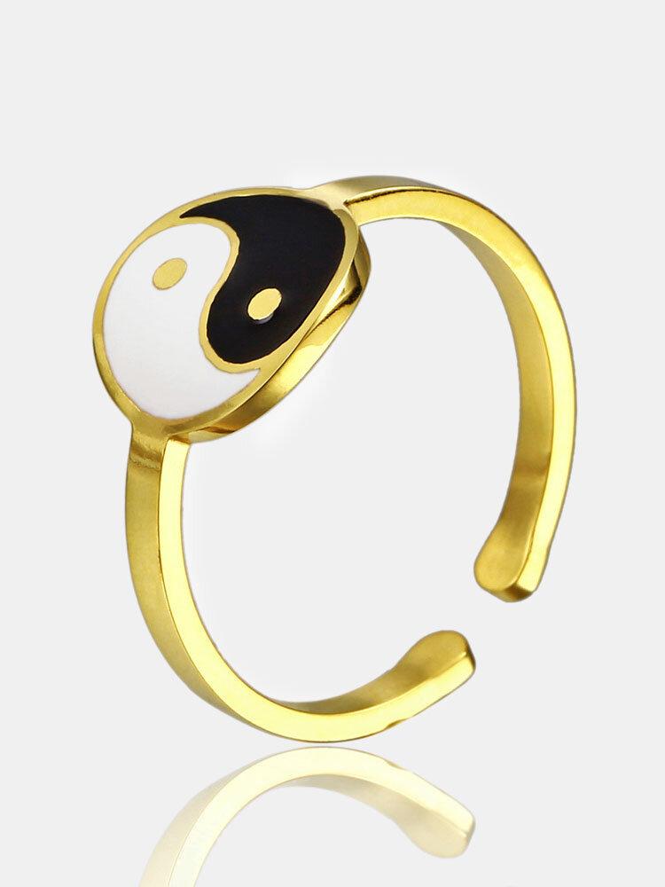 خاتم قابل للتعديل من التيتانيوم الصلب على الطراز الصيني