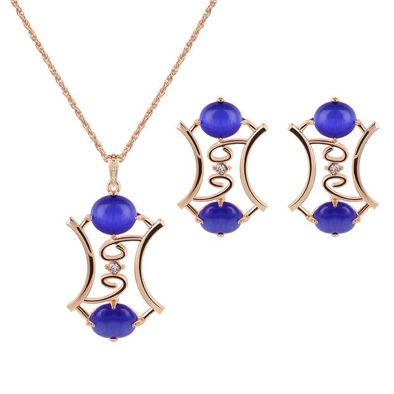 Elegant Jewelry Set Opal Rhinestone Earrings Necklace Jewelry Set for Women