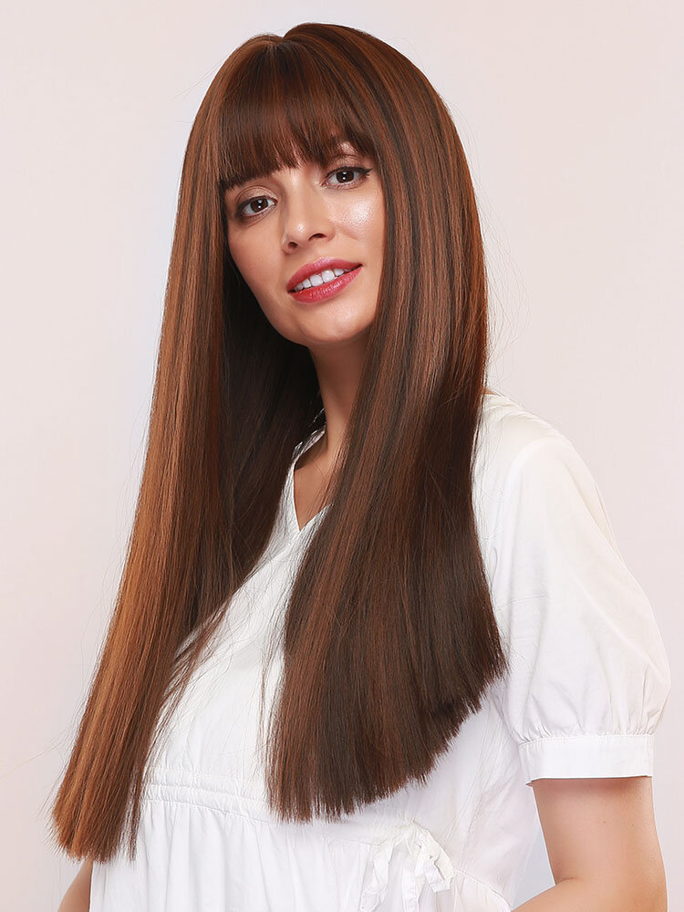 24 Inch Temperament Synthetic Wig Neat Bangs Brown Supple Long Straight Hair Wig