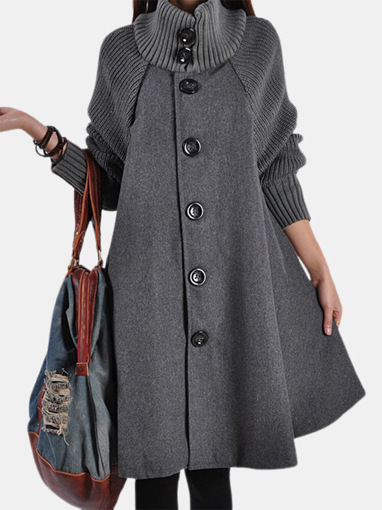 Solid Color Long Sleeve High Neck Patchwork Coat For Women