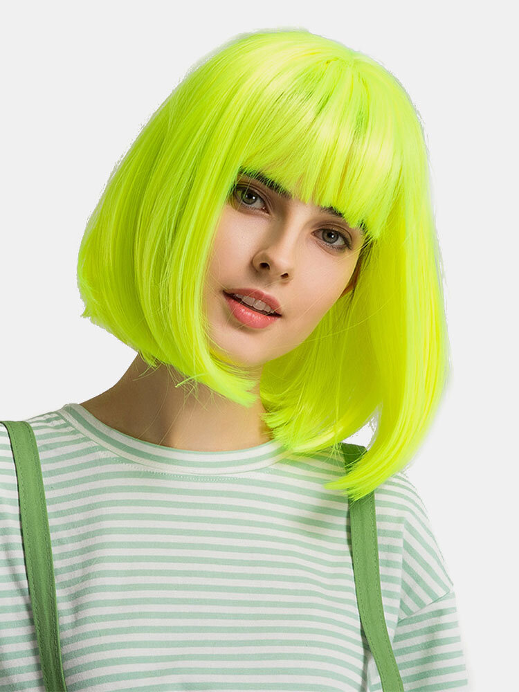 14 inch Green Neat Bangs Medium Long Straight Lolita Wig Cosplay Bob Synthetic Hair Wigs