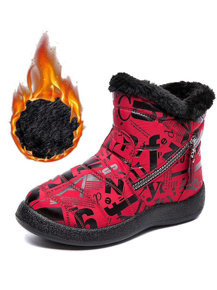 Women's Round Toe Warm Lining Waterproof Cloth Zipper Large Size Snow Ankle Boots