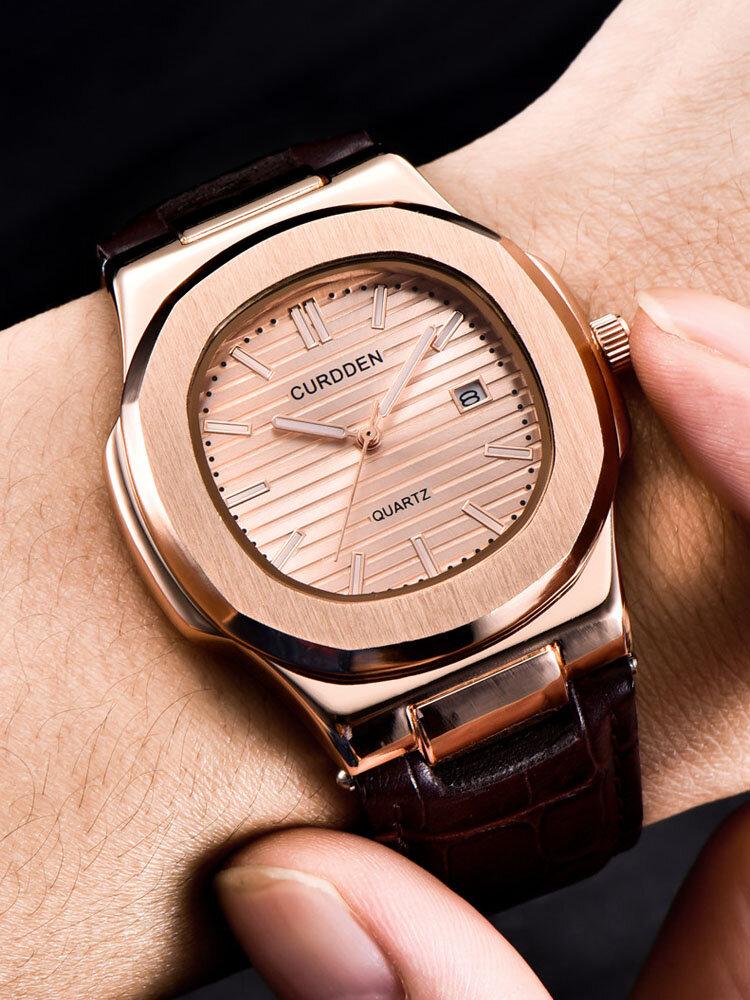 Alloy PU Leather Belt Business Calendar Quartz Watch