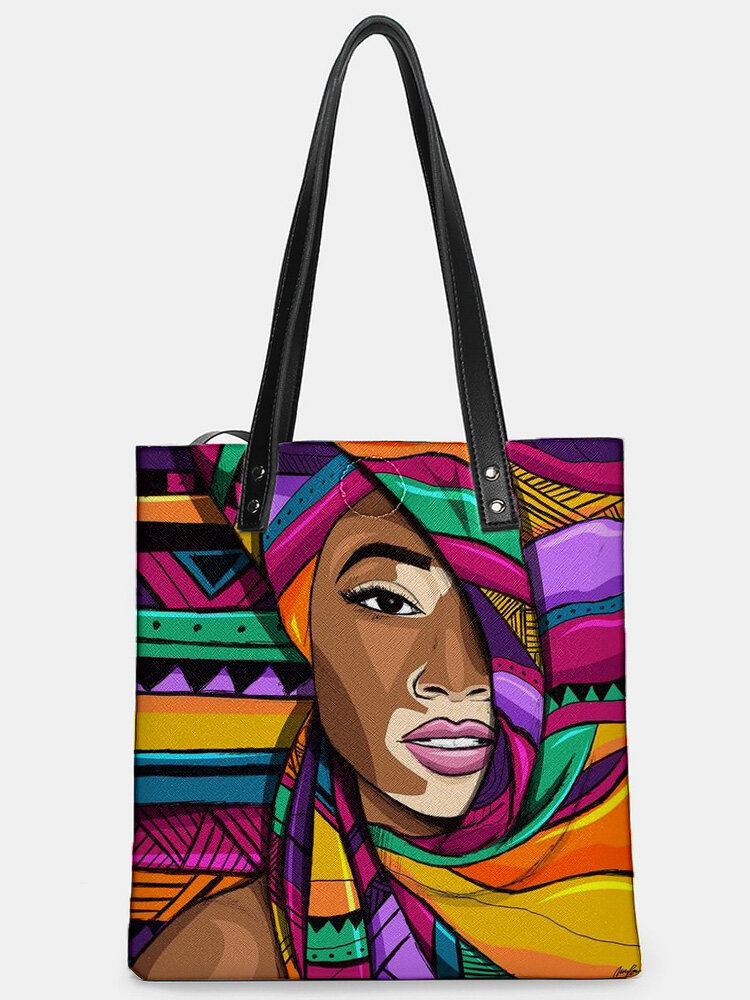 Casual Stylish Design Abstract Human Head Pattern Magnetic Button Tote Shoulder Bag