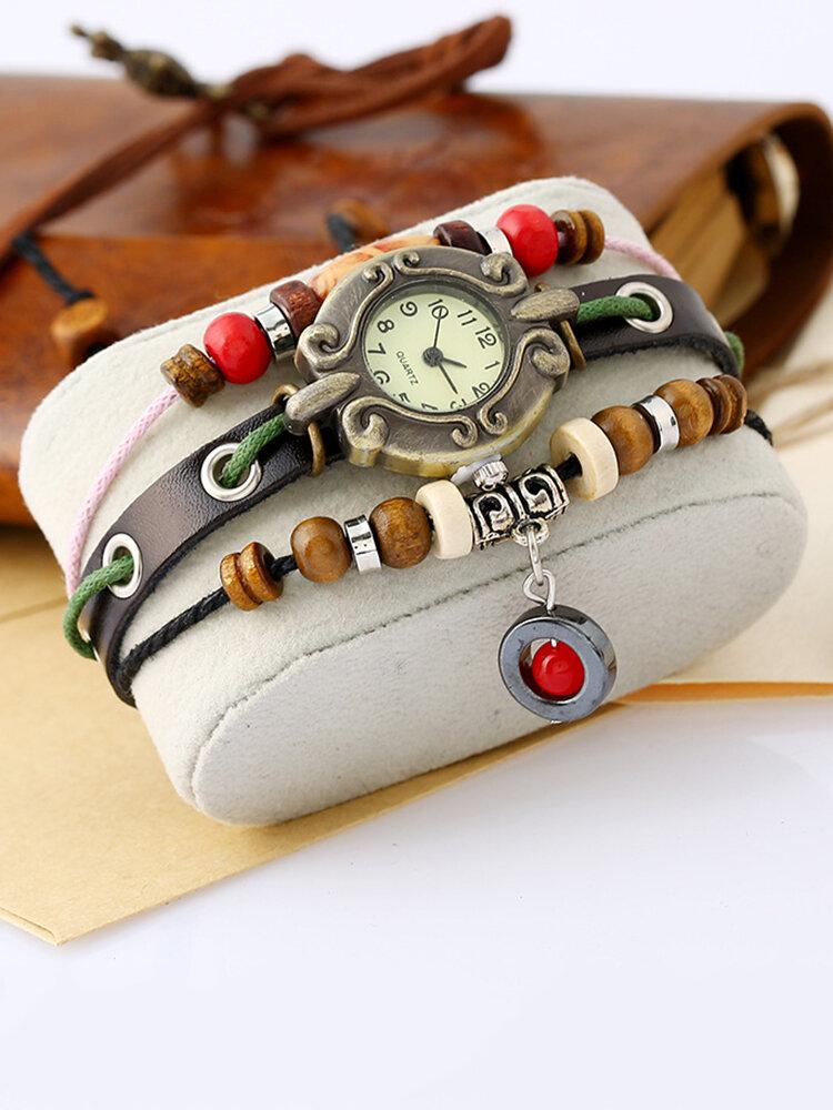 Vintage Multilayer Women Quartz Watch Adjustable Leather Beaded Bracelet Watch