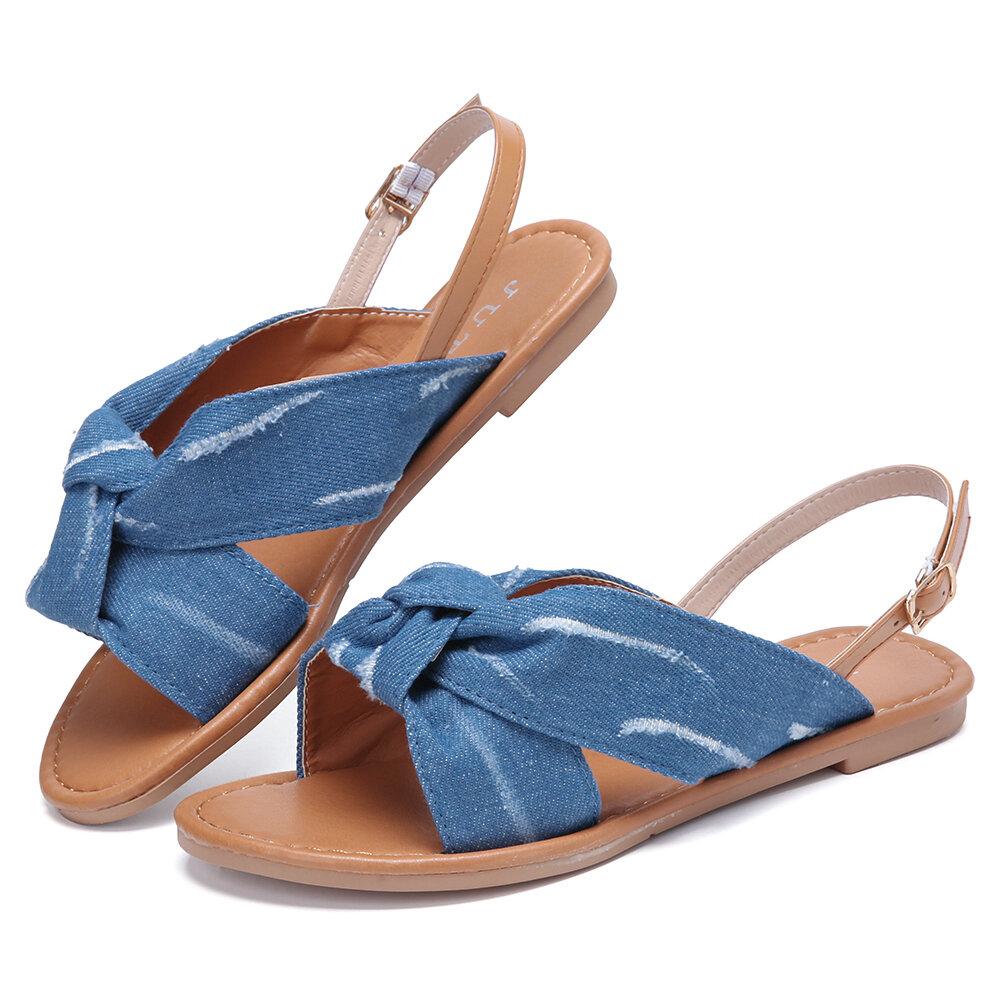 Plus Size Women Casual Open Toe Denim Slingback Buckle Flat Sandals