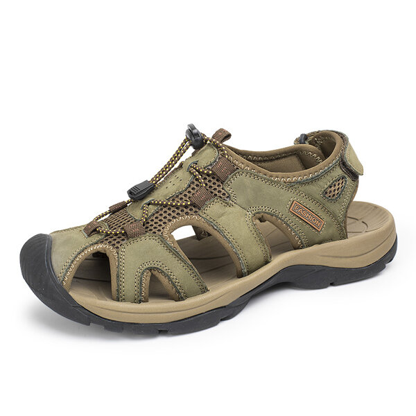 Big Size Men Leather Hollow Out Toe Protecting Lace Up Outdoor Beach Sandals