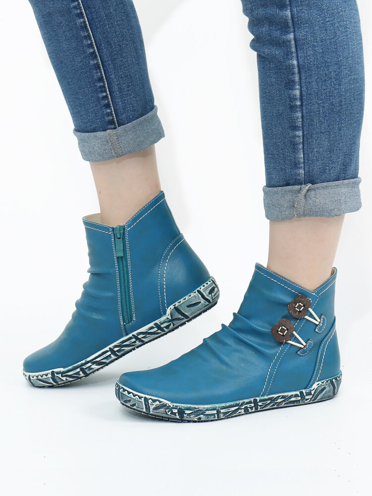 SOCOFY Retro Warm Lining Comfy Solid Color Round Toe Side Zipper Winter Casual Short Boots