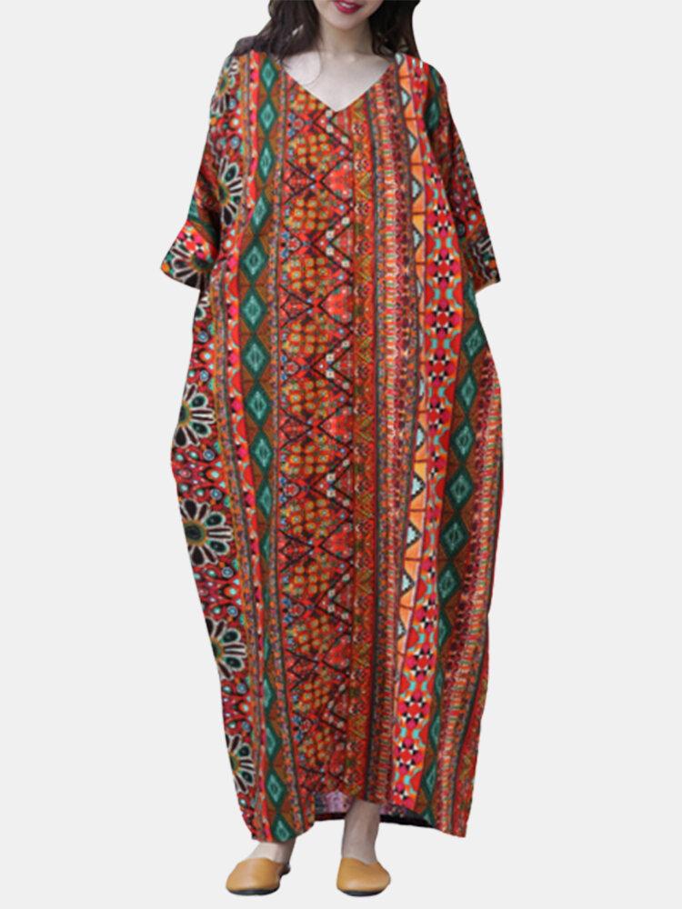 Ethnic Print V-neck 3/4 Sleeve Baggy Plus Size Vintage Maxi Dress