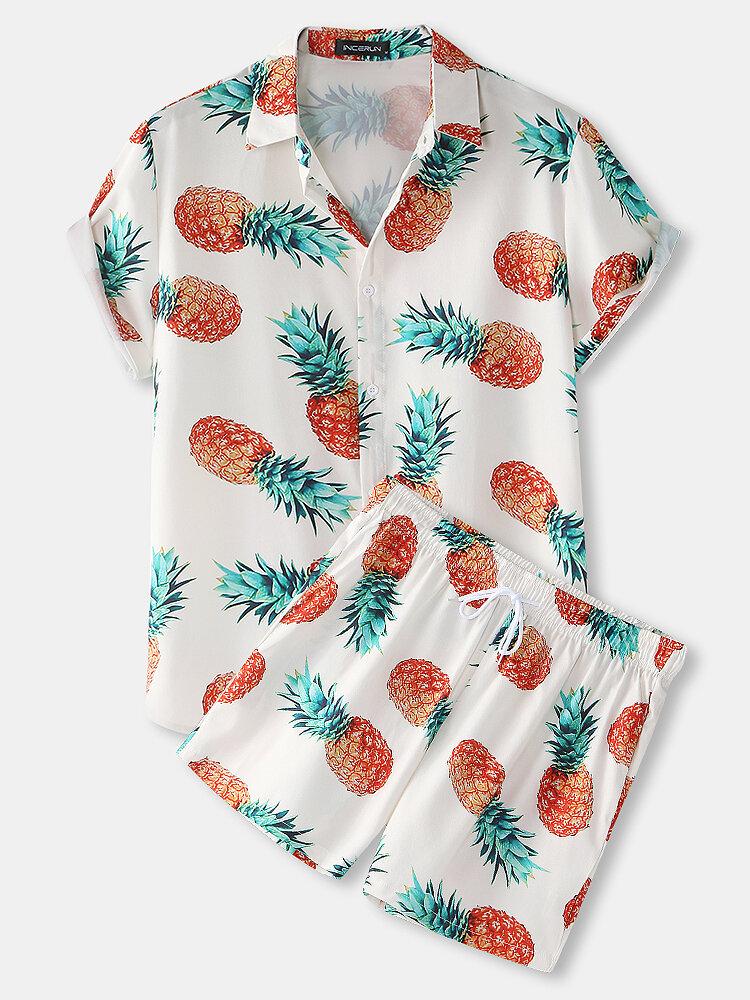 メンズパイナップルパターンプリントカジュアルラウンジウェア快適な通気性ボタン巾着衣装セット