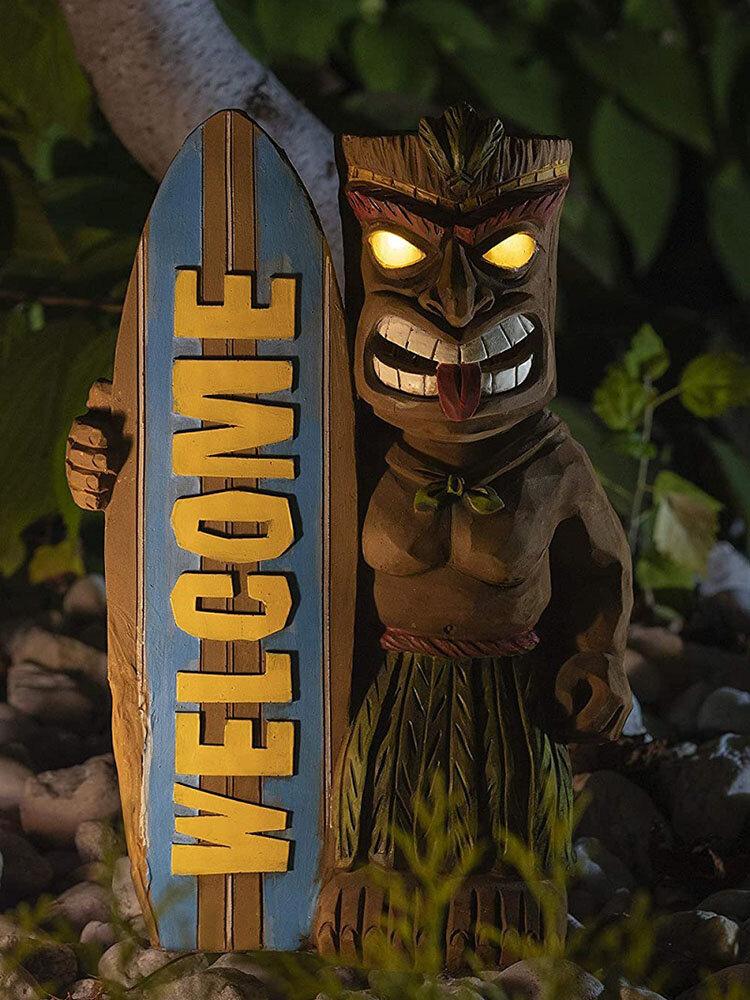 1 PC LED Light Welocme Vintage Resin Creative Tribal Totem Figure Statue Sculpture With Surfboard Outdoor Indoor Courtyard Garden Decor