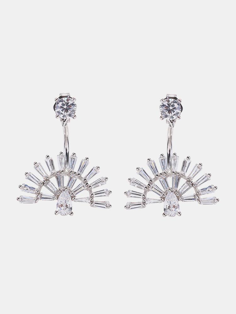925 Sterling Silver Fan-shaped Stud Earrings Luxury Peacock Sector Inlaid Zirconia Earrings
