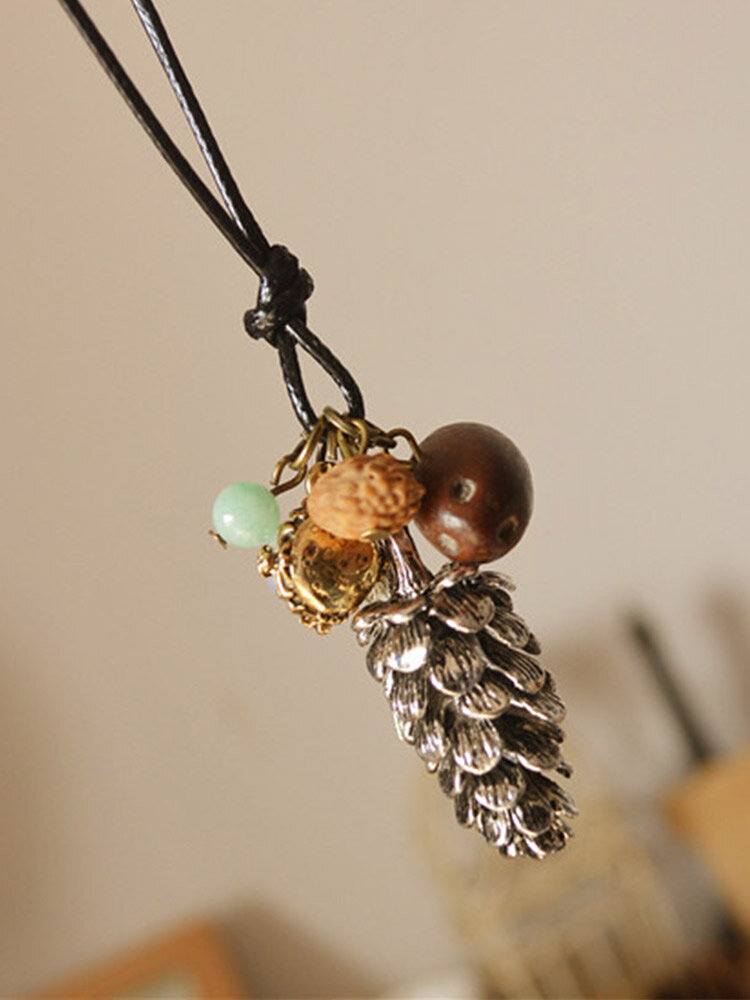 Vintage Ethnic Pine Nuts Walnut Bodhi Long Sweater Chain Wax Rope Alloy Pearl Necklace