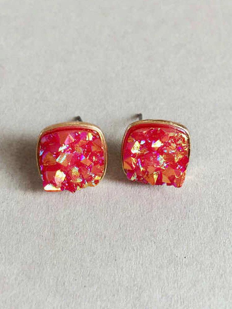 Trendy Women's Multi-colors Earrings Irregular Square Resin Stone Stud Earrings for Women Gift
