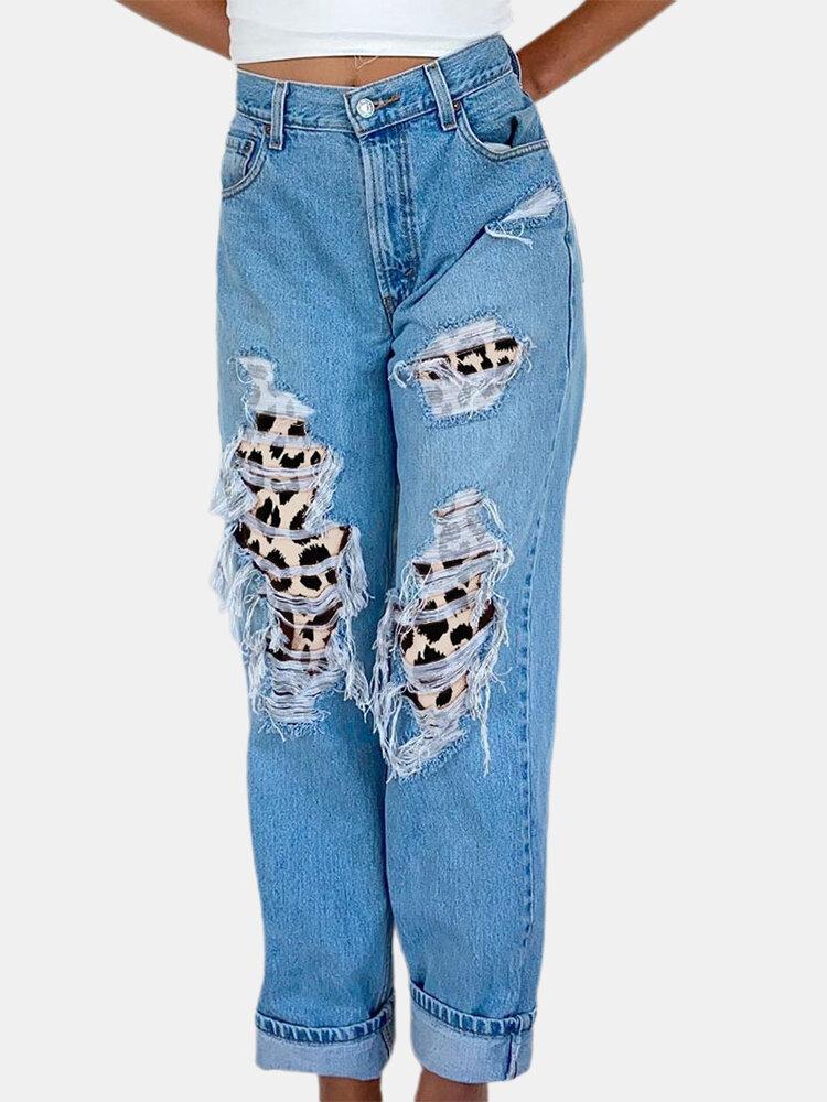 Women Leopard Print Patchwork Ripped Casual Denim Jeans