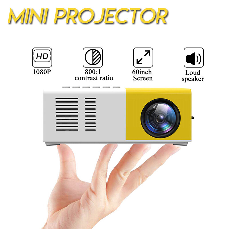 Image of 9 LCD LED Projector 1200 Lumens 800:1 Support 1080P Portable Office Home Cinema
