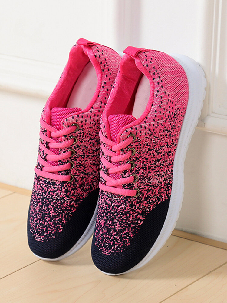 Large Size Women Casual Ombre Color Mesh Material Breathable Running Shoes Soft Comfy Sneakers